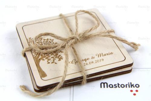 Τετράγωνα σουβέρ για γάμο - Δέντρο ευτυχίας 9.5cm - Δώρα για γάμο - Μπομπονιέρα γάμου - Κύπρος - Μαστορικό - S.M. Mastoriko