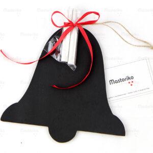 Ξύλινος Μαυροπίνακας με κιμωλίες σε σχήμα καμπάνα- Χριστουγεννιάτικα δώρα- Κύπρο - Ελλάδα - Blackboard -Chankboard - S.M. Mastoriko BLACK-B6